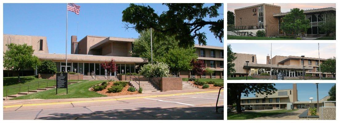 Black Hawk college building collage
